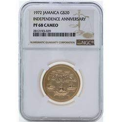 1972 $20 Jamaica Independence Anniversary Gold Coin NGC PF68 Cameo