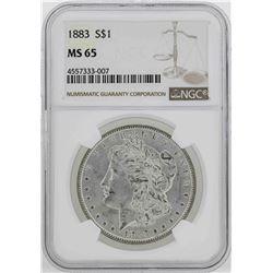 1883 $1 Morgan Silver Dollar Coin NGC MS65