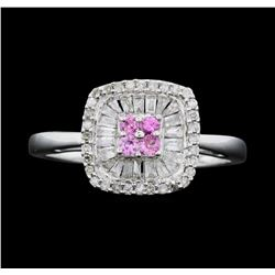 14KT White Gold Ladies 0.50ctw Diamond and Pink Sapphire Ring