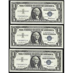 Lot of (3) Consecutive 1957 $1 Silver Certificate Notes Uncirculated