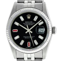Mens Rolex 36mm Stainless Steel Black Diamond & Ruby Datejust Wristwatch