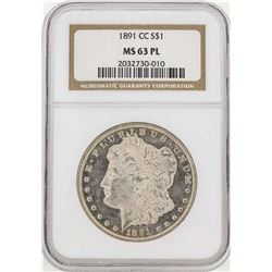 1891-CC $1 Morgan Silver Dollar NGC MS63PL
