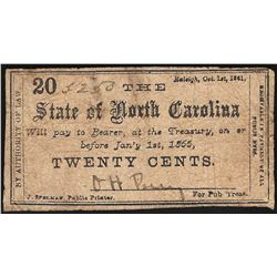 1861 Twenty Cents State of North Carolina Obsolete Note