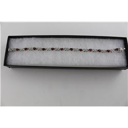 CERTIFIED DIAMOND & GARNET TENNIS BRACELET.  6 CT  12 OVAL GEMSTONES  FIGURE 8 LINK