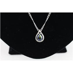 CERTIFIED  2 CT. MYSTIC TOPAZ & DIAMOND NECKLACE.  OCEAN BLUE COLOR. PEAR CUT.
