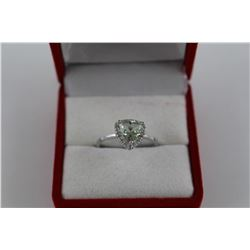CERTIFIED GREEN AMETHYST  & DIAMOND SOLITAIRE RING  1.25 CT.  TRILLION CUT  2 DIAMONDS