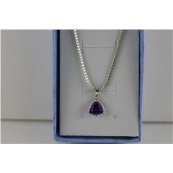 CERTIFIED PURPLE AMETHYST & DIAMOND PENDANT/NECKLACE.  1.1 CT TRILLION CUT