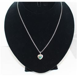 CERTIFIED 1CT EMERALD & DIAMOND NECKLACE. HEART CUT INCH DEEP GREEN PENDANT 14MMX20MM