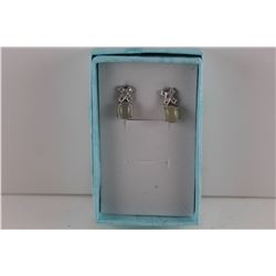 NEW BLUE CHALCEDONY &DIAMOND EARRINGS.  'XO' DESIGN..  STERLING SILVER POST & BUTTERFLY BACKS
