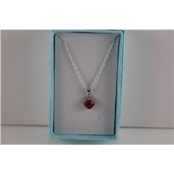 RUBY & DIAMOND PENDANT/NECKLACE.  SQUARE PRINCESS CUT RUBY.  STERLING SILVER