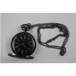 "NEW MENS FULL SIZE ROMAN NUMERAL POCKET WATCH  22"" CHAIN - WORKS"