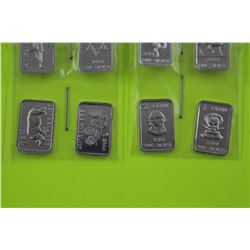10 X .999 FINE SILVER ART BARS. VARIOUS MOTIFS. (TAX EXEMPT)