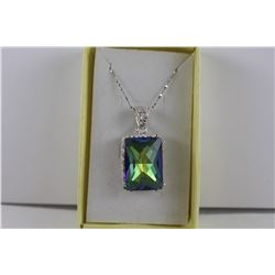75 CT. EMERALD CUT MYSTIC TOPAZ NECKLACE.  OCEAN BLUE COLOR.  STERLING SILVER.