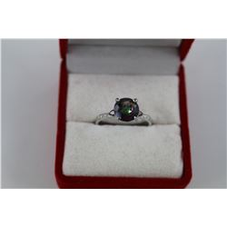 GARNET & MYSTIC TOPAZ SOLITAIRE RING.  2.5 CT ROUND CUT.  STERLING SILVER