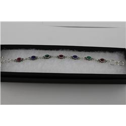 CUSTOM MADE RUBY, EMERALD & SAPPHIRE BRACELET.  BEZEL SET. TOGGLE STYLE.  STERLING SILVER