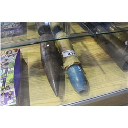 PAIR OF VINTAGE ARTILLERY SHELLS