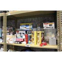 SHELF LOT OF DEPARTMENT STORE GOODS SPIN BROOM, SCALE, WAFFLE MAKER AND MORE