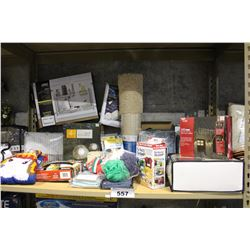 SHELF LOT OF DEPARTMENT STORE GOODS: SOLAR ROCK LIGHTS, UNDER SINK ORGANIZER SOFA COVER AND MORE