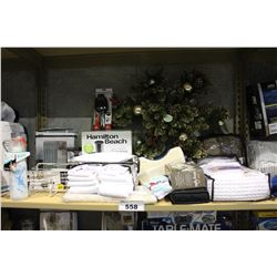SHELF LOT OF DEPARTMENT STORE GOODS: MEMORY FOAM PILLOW, SHOWER CURTAINS, CHRISTMAS DECORATIONS AND