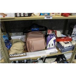 SHELF LOT OF DEPARTMENT STORE GOODS: COOKWARE RACK, MY LITTLE STEAMER, SHEET SET AND MORE