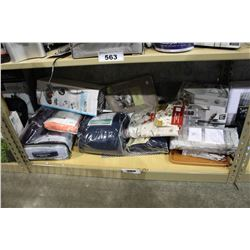 SHELF LOT OF DEPARTMENT STORE GOODS: SHEET SET, MASSAGER, RICE COOKER AND MORE