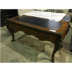 FRENCH STYLE LEATHER TOP WRITING DESK WITH THREE DRAWERS
