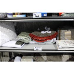 SHELF LOT OF DEPARTMENT STORE GOODS: SHEET SET, BATH MAT AND MORE