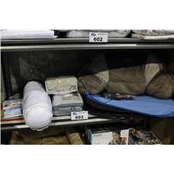 SHELF LOT OF DEPARTMENT STORE GOODS: MASSAGE CUSHION, LAUNDRY HAMPERS, CURTAINS AND MORE