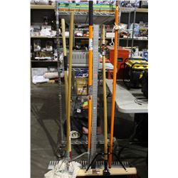 LOT OF RAKES, MOP BROOM AND MORE