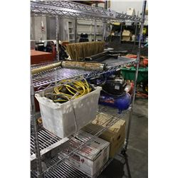 ROLLING RACK OF EXTENSION CORDS, AIR COMPRESSOR AND MORE (ROLLING RACK NOT INCLUDED)