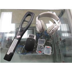 SECURITY METAL DETECTOR/WIRELESS BLUETOOTH HEADPHONES/2X 512 GB MICRO SD CARDS/JABRA HANDSFREE