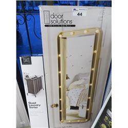 DOOR SOLUTIONS L.E.D. OVER-THE-DOOR MIRROR/QUAD LAUNDRY SORTER