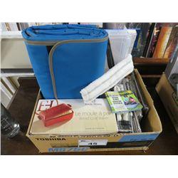 BOX LOT OF TRAVEL PICNIC BLANKET/PLASTIC ORGANIZER/MISC LINEN/EMILE HENRY BREAD LOAF MAKER