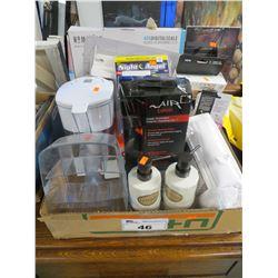 HOMEDICS DIGITAL SCALE/BRITA WATER FILTER/ORGANIZER/LOTION DISPENSERS/HAIR IRON/MISC