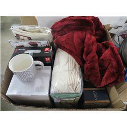 BOX LOT OF SLIPPERS/THROW BLANKET/TABLE CLOTHS/OSKAR FILTERS/CUTLERY SET/MISC