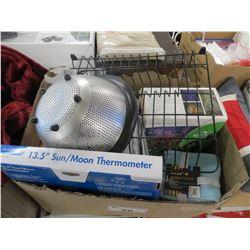 "BOX LOT OF NIGHTSTARS LIGHT/13.5"" SUN-MOON THERMOMETER/WASH CLOTHS/HIMALAYAN SALT LAMP/MISC"