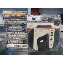 GALLEN TACTICAL HANDGUN HOLSTER/20 ASSORTED WAR RELATED DVDS