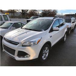 2013 FORD ESCAPE, 4DR SUV, WHITE, VIN # 1FMCU0GX8DUC89496
