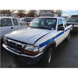 2000 FORD RANGER XLT, CREW CAB, WHITE, VIN#1FTZR15X8YPB47100,