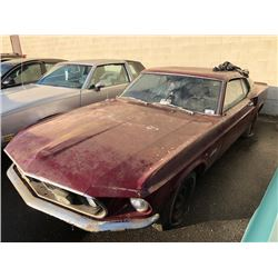 1969 FORD MUSTANG, 2 DR, RED, VIN # 9T02L187360