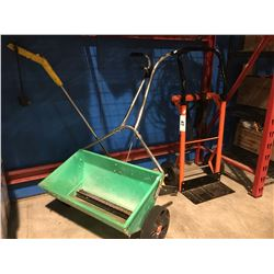 2 WHEEL FURNITURE DOLLY, GRASS SEED SPREADER & ELECTRIC EDGER