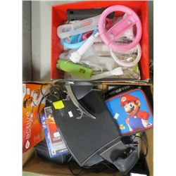 2 BOXES OF ASSORTED GAMING CONSOLE ACCESSORIES/GAMES/MISC