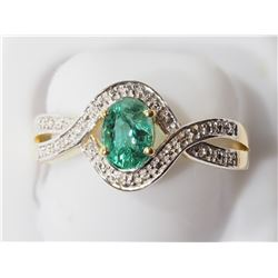 STERLING SILVER GOLD PLATED WITH GENUINE EMERALD (APP. 1CT) RING. RETAIL $300