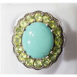 STERLING SILVER WITH TURQUOISE (DECEMBER BIRTHSTONE) AND PERIDOT RING. INSURANCE $1233