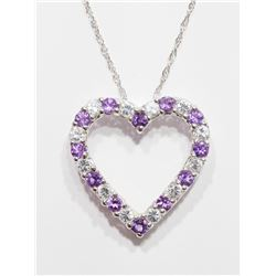 STERLING SILVER NATURAL AMETHYST (FEBRUARY BIRTHSTONE) HEART SHAPED PENDANT NECKLACE WITH CHAIN.