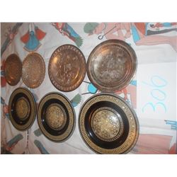 7 Assorted Engraved Metal and Inlaid Plates