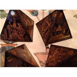 6 PC Hand Engraved Onix Pyramids