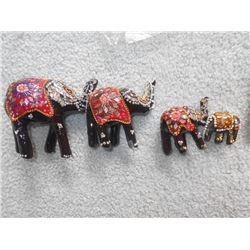 "4 PC Egyptian Wooden Inlay Elephant Set, 2"" to 4"""
