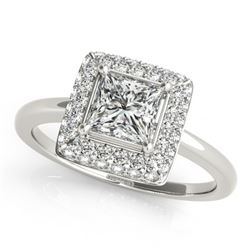 1.6 CTW Certified VS/SI Princess Diamond Solitaire Halo Ring 18K White Gold - REF-440W8H - 27165