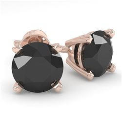 1.0 CTW Black Diamond Stud Designer Earrings 18K Rose Gold - REF-41H6W - 32267